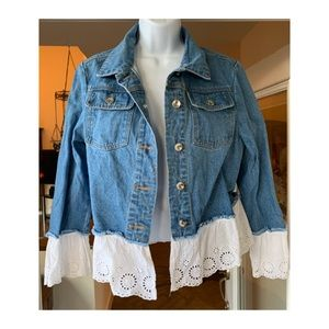 NY Collection Adorable Jean Jacket with Lace SZ L